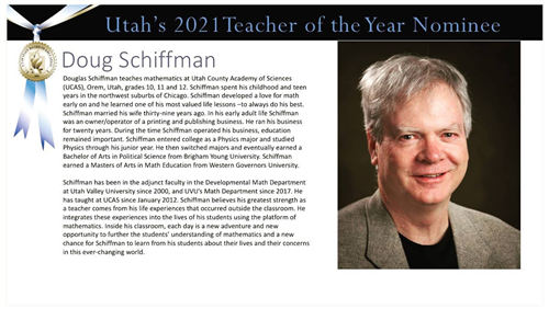 MR SCHIFFMAN NOMINATION TEACHER OF THE YEAR